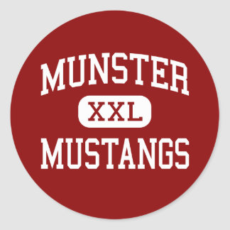 Munster - Mustangs - High School - Munster Indiana Classic Round Sticker
