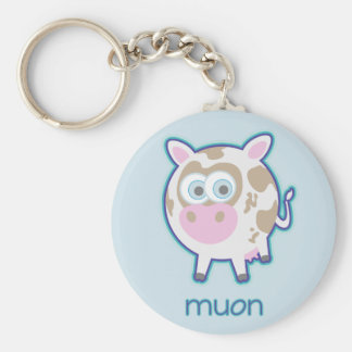 Muon Particle Cow Basic Round Button Keychain