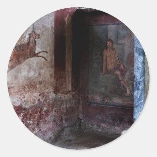 Mural at Pompeii Classic Round Sticker