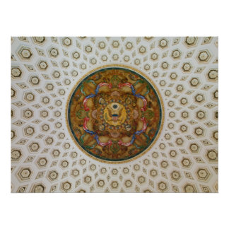 Mural & coffers Ceiling Dome in Jefferson Building Poster