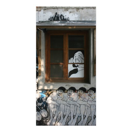 Mural on house, Taipei, Taiwan Photo Card Template