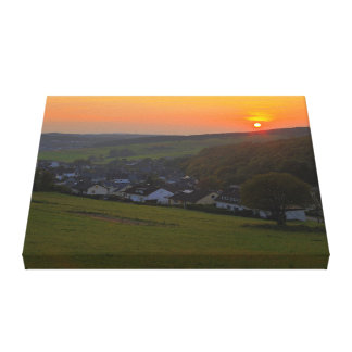 Mural sunset in the low mountain range canvas print
