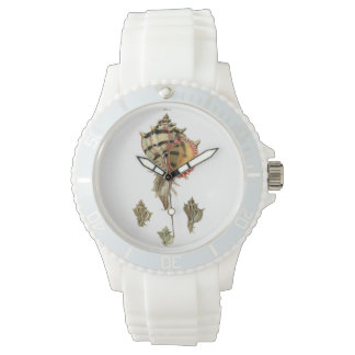 Murex sea shells vintage illustration wrist watch