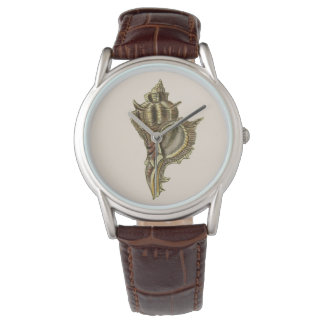 Murex sea shells vintage illustration wristwatch