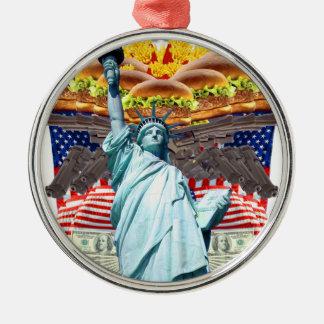'MURICA! American pride, liberty lovin' folks wear Silver-Colored Round Ornament