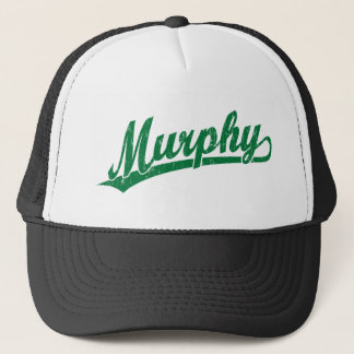 Murphy script logo in green trucker hat