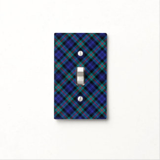 Murray Clan Royal Blue and Turquoise Modern Tartan Light Switch Cover