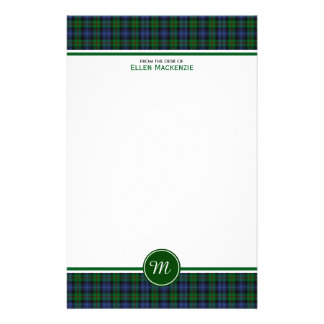 Murray Clan Tartan Green and Blue Plaid Monogram Stationery Design