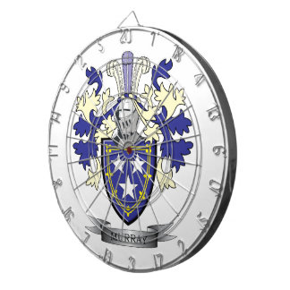 Murray Family Crest Coat of Arms Dart Board