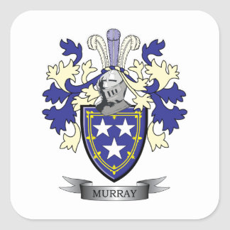 Murray Family Crest Coat of Arms Square Sticker