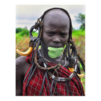 "Mursi Girl with Leaf ""Band-aid"" Postcard"
