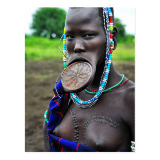 Mursi Woman with Lip Plate and Scarification Postcard