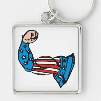 Muscle américain porte-clé carré argenté