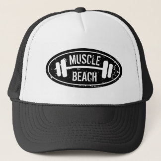 Muscle Beach trucker hat with dumbbell logo