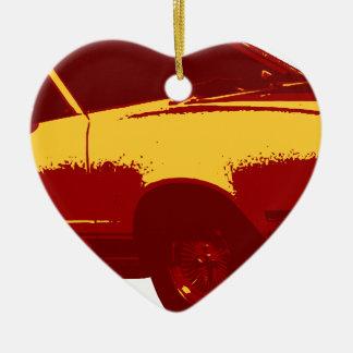 Muscle Car Ceramic Heart Ornament