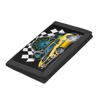 Muscle car doing a burn out in the Street Tri-fold Wallet