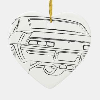 Muscle car drawing ceramic heart ornament