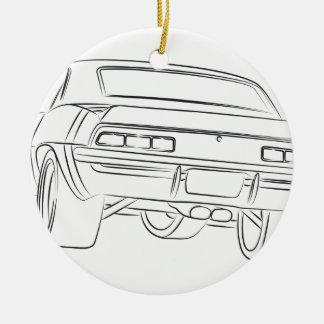 Muscle car drawing ceramic ornament