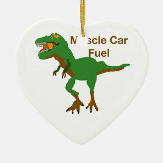 Muscle Car Fuel Ceramic Heart Ornament