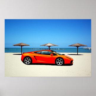 Muscle Car Orange on Beach Poster