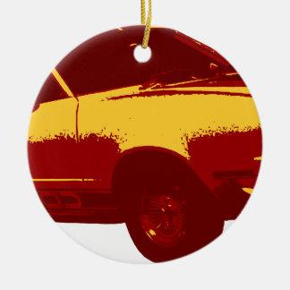 Muscle Car Round Ceramic Ornament