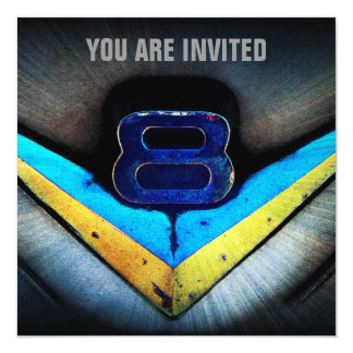 "Muscle Car V8 Power and Chrome 5.25"" Square Invitation Card"