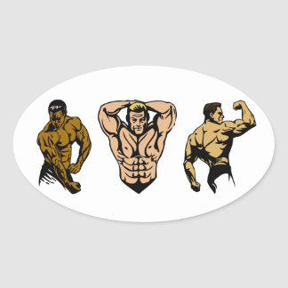 Muscle Crew - Strike a Pose Oval Sticker