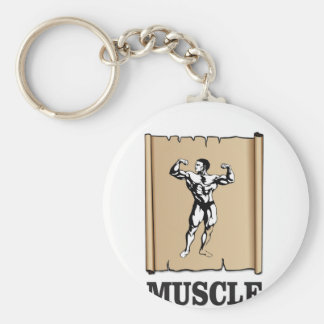 muscle form meat basic round button keychain
