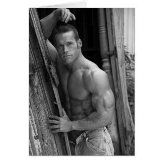 Muscle Hunk At Barn Card