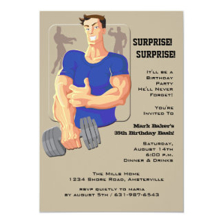 Muscle Man Blue Invitation
