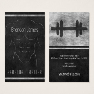 Muscle Man Outline Black Personal Trainer Vertical Business Card