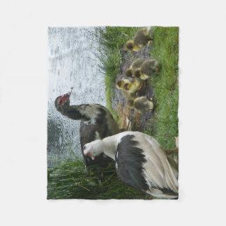 Muscovy Ducks And Ducklings Fleece Blanket