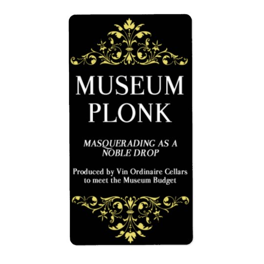 Museum Plonk Wine Label Shipping Label
