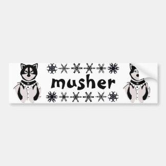 Musher Malamute and Husky Sled Dogs Bumper Sticker