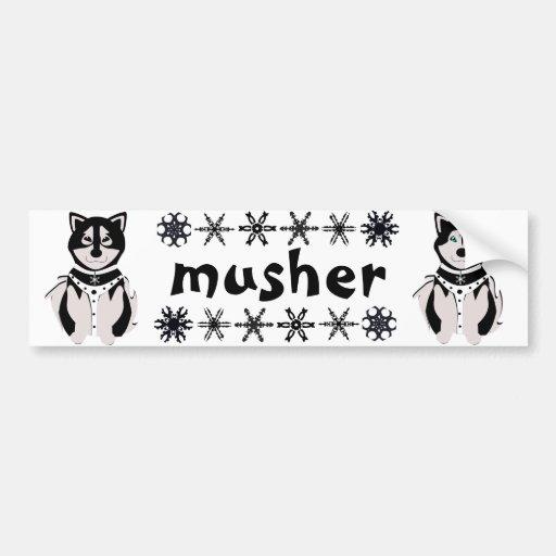 """""""Musher"""" Malamute and Husky Sled Dogs Bumper Sticker"""