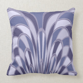 Mushroom Abstract - Art Deco - blueberry Throw Pillow