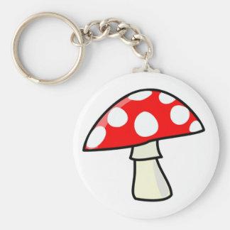 mushroom basic round button keychain