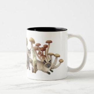 Mushroom cats Two-Tone coffee mug