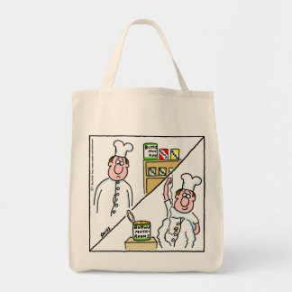 Mushroom Chef Cartoon Funny Grocery Tote Grocery Tote Bag