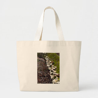 mushroom_downed tree_moss_winter large tote bag
