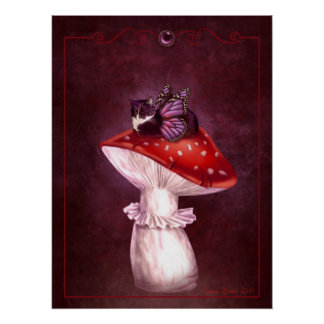 Mushroom Fairy Cat Poster