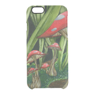 Mushroom Forest Hand Drawn Abstract Woodland Clear iPhone 6/6S Case