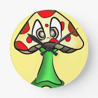 Mushroom Head Design Round Clock