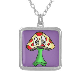 Mushroom Head Design Silver Plated Necklace