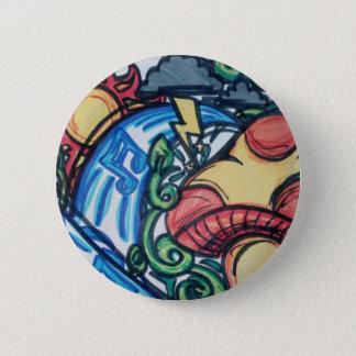 Mushroom hippie 2 inch round button