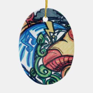 Mushroom hippie ceramic ornament