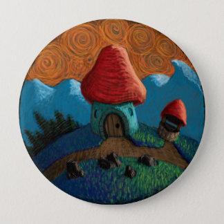 Mushroom house 4 inch round button