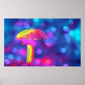 Mushroom in Lights Poster