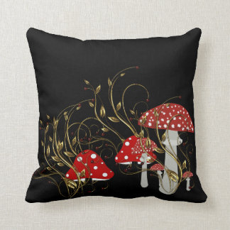 Mushroom Moon Light Throw Pillow