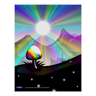 Mushroom mountain poster